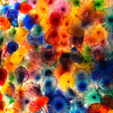 abstract art of glass jellyfish on canvas