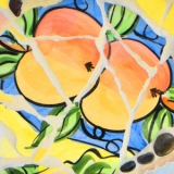 abstract art of life is peaches on canvas